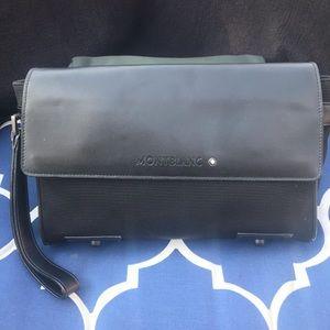 Authentic MONTBLANC bag leather trim wristlet